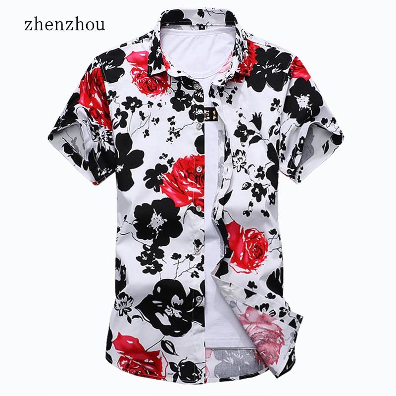 ZhenZhou 2018 Poletna moška majica s kratkimi rokavi Casual Cvetlična majica Slim Fit majica M-6XL 7XL Chemise Homme Manche Court