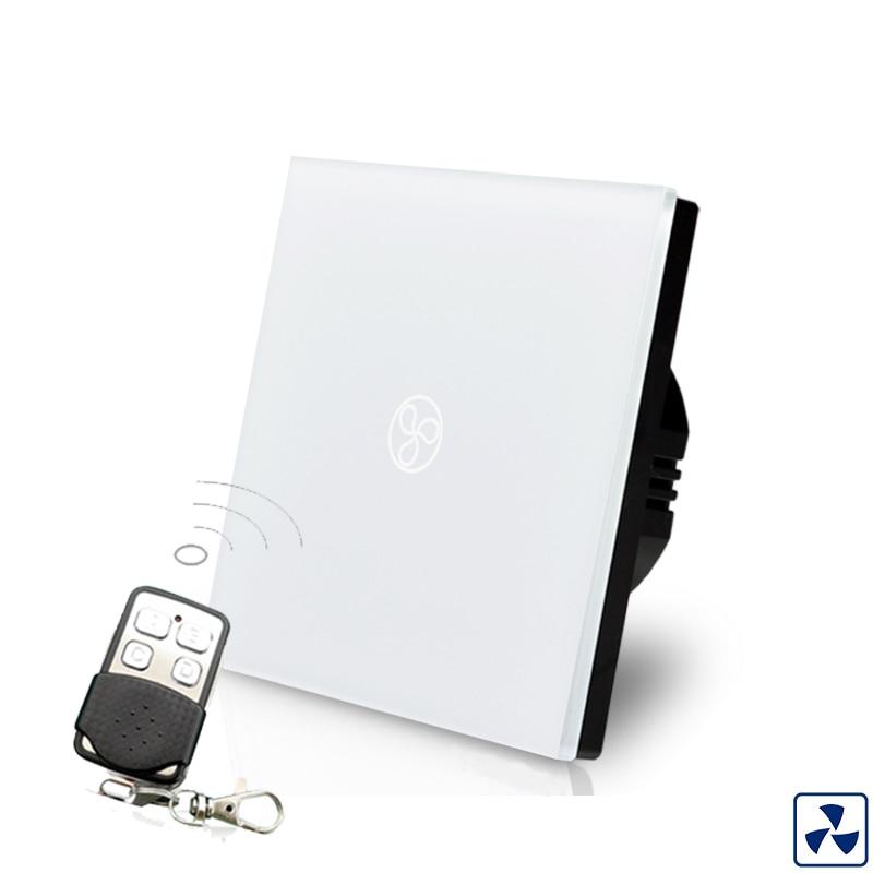 Cnskou EU Standard 1Gang Fan Speed Switch,220V Remote Control Wifi wall Fan Touch Switch,White Crystal Glass Sensor Switch remote control wall switch white electric curtain switch and touch switch