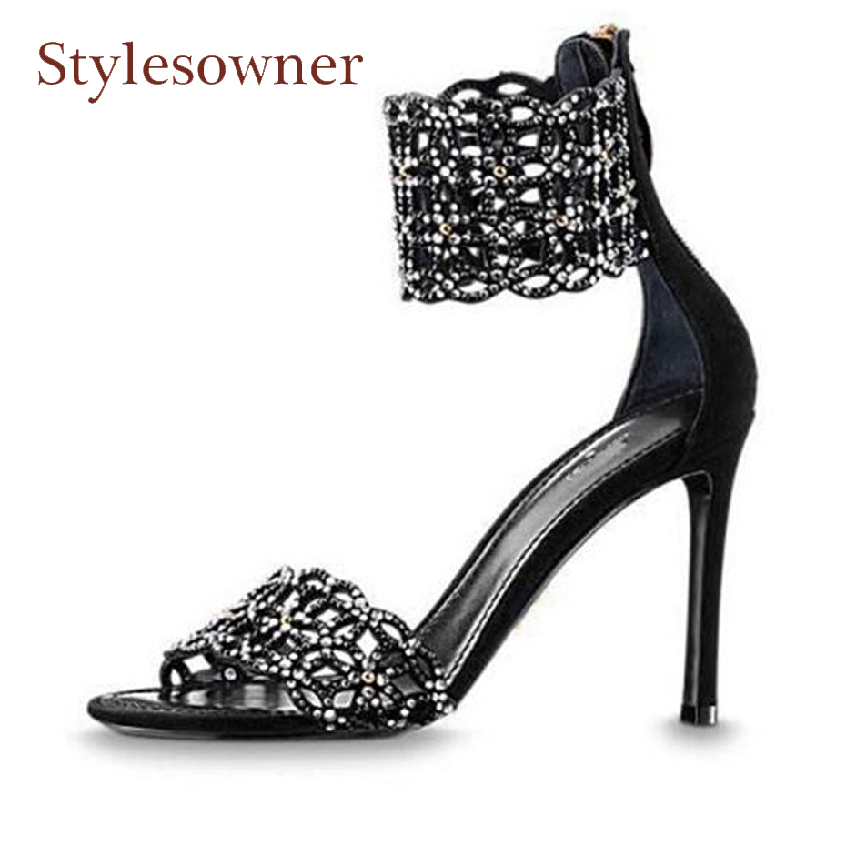Stylesowner crystal suede gladiator sandals open toe thin heel shoes women rhinestone ankle strappy lady party shoes high heels enmayla womens high heels shoes summer ladies gladiator sandals women faux suede open toe rhinestone strappy sandals shoes woman