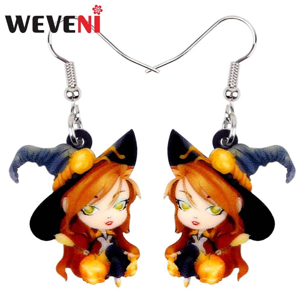 WEVENI Acrylic Halloween Anime Magical Witch Earrings Drop Dangle Fashion Cute Jewelry For Women Girls Teens Wholesale Accessory