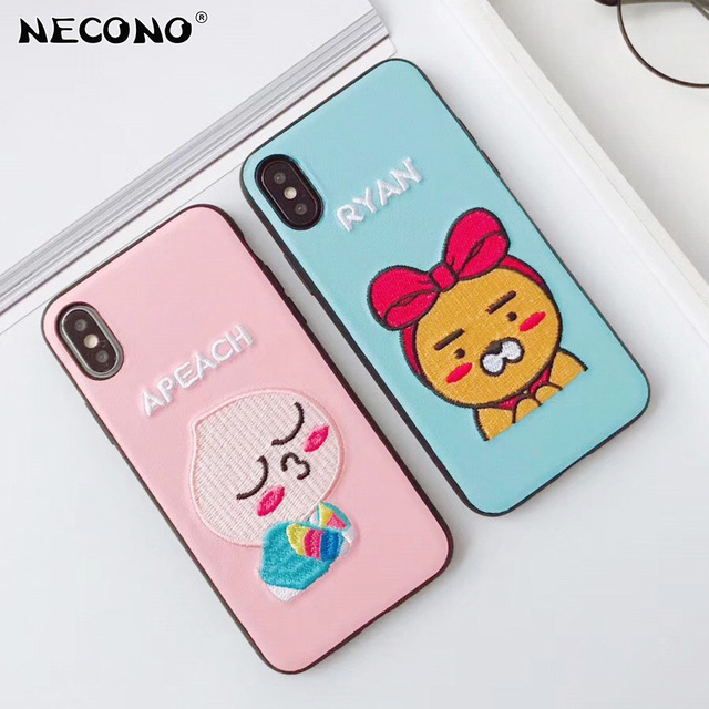 innovative design 40dfe d6c4f US $4.99 |NECONO Embroidery Phone Case for iPhone X 8 8plus Cute Cartoon  Kakao Friends Apeach Ryan Cover Case For iphone 7 plus 6 6s plus-in Fitted  ...