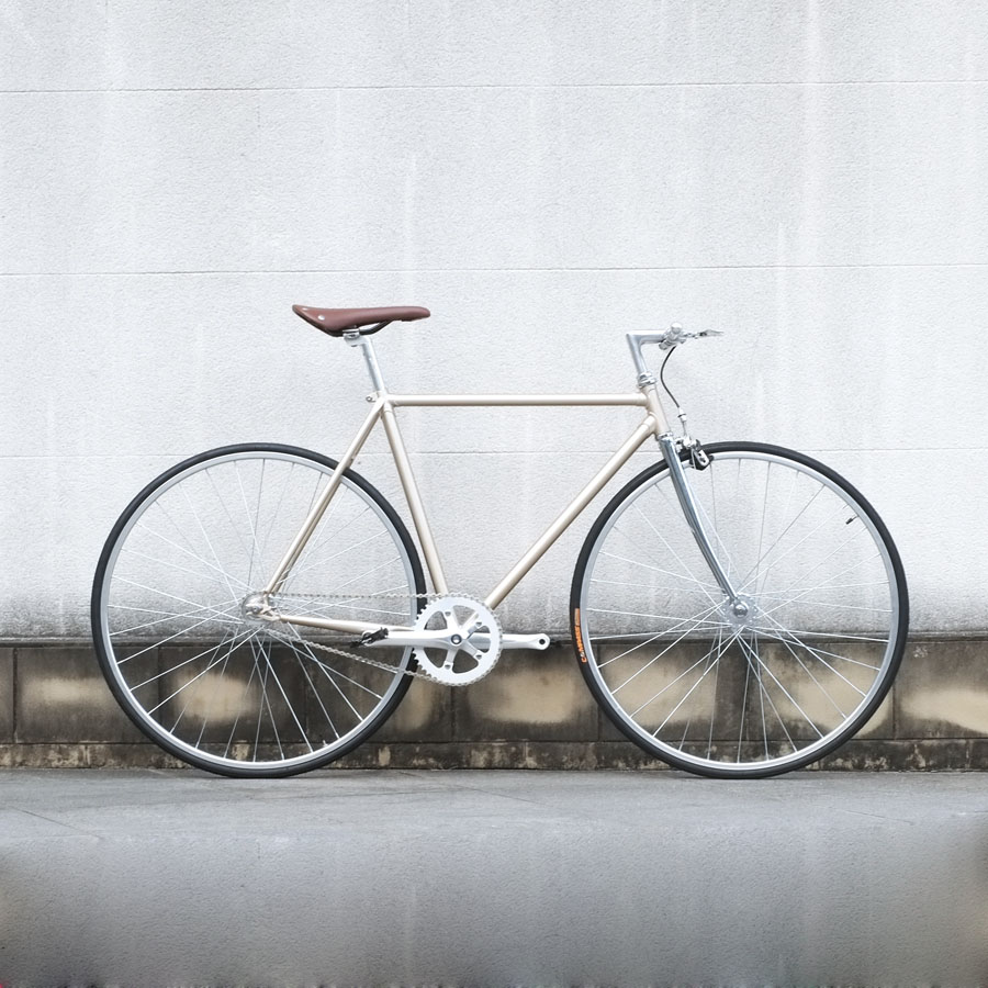 Retro Bikel Gold  700C Fixed Gear Bike Vintage Track Single Speed Bike 52cm  Fixie Bike DIY Color Frame