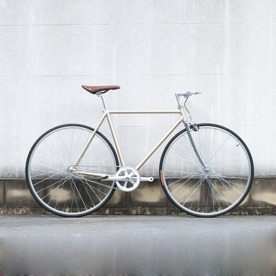 Retro Road  Bike Gold  700C Fixed Gear Bike Vintage  Bicicleta Track Single Speed Bike 52cm Fixie Bike