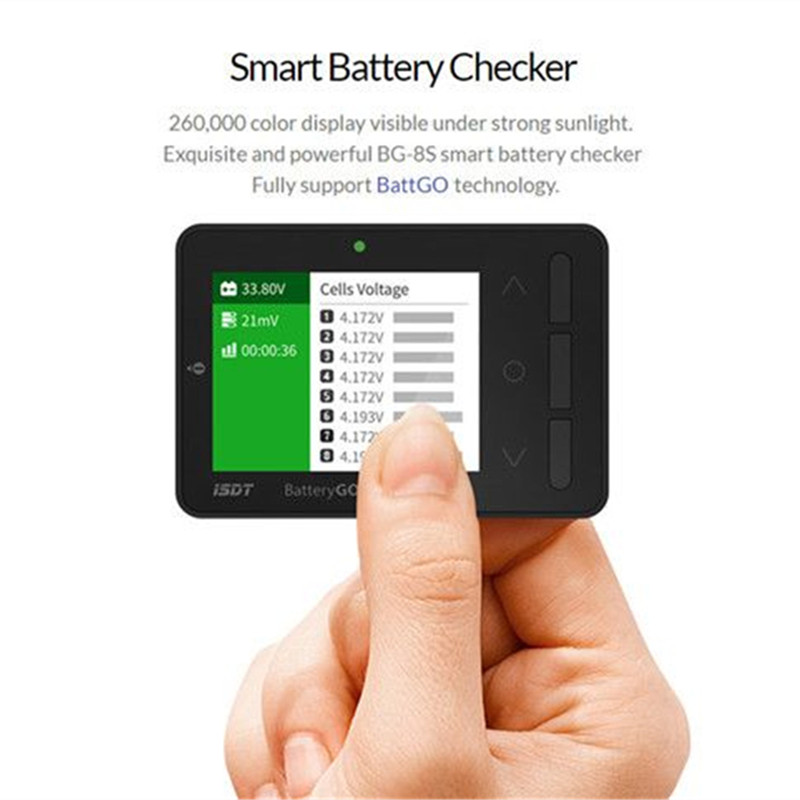 In Stock ISDT BG-8S Smart Battery For Checker Balancer Receiver Signal Tester Quick Charge Function for RC Models Lipo Charging bg 8s smart battery checker quick charge function balancer receiver signal tester