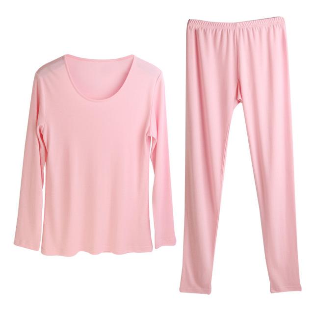 Women long johns 30%Natural silk 70%Wool Intimates suit Long sleeve sleep wear cueca 2017 FALL WINTER NEW PINK RED NUDE