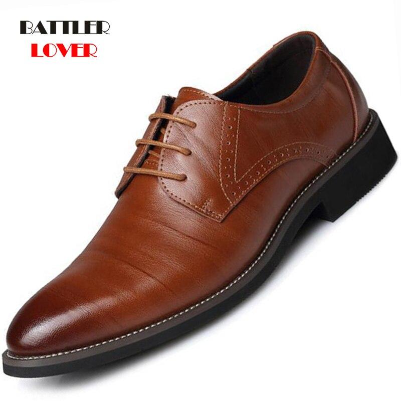 2019 New Genuine Leather Men Brogues Shoes Men Oxfords