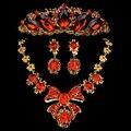New Classic gota de água pingente de cristal vermelho conjuntos de jóias de noiva colar de ouro Tiara brinco conjunto de jóias de casamento para a noiva