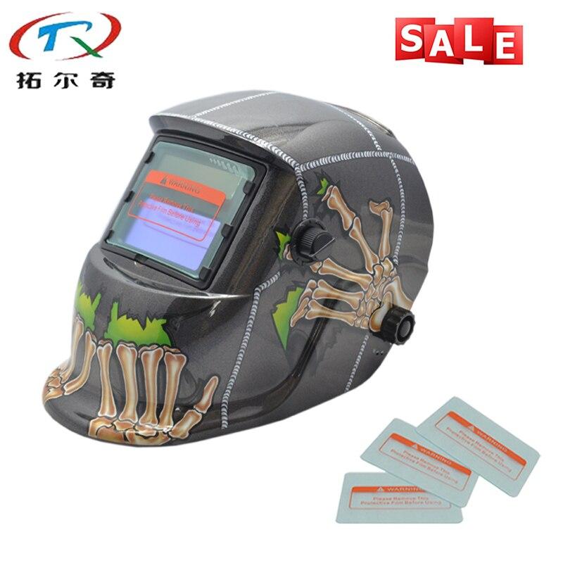Black Hand Skull Welding Mask Chameleon Auto Darkening Full Face Best Welder Tools Welding Helmet TRQ-HD46with 2233de