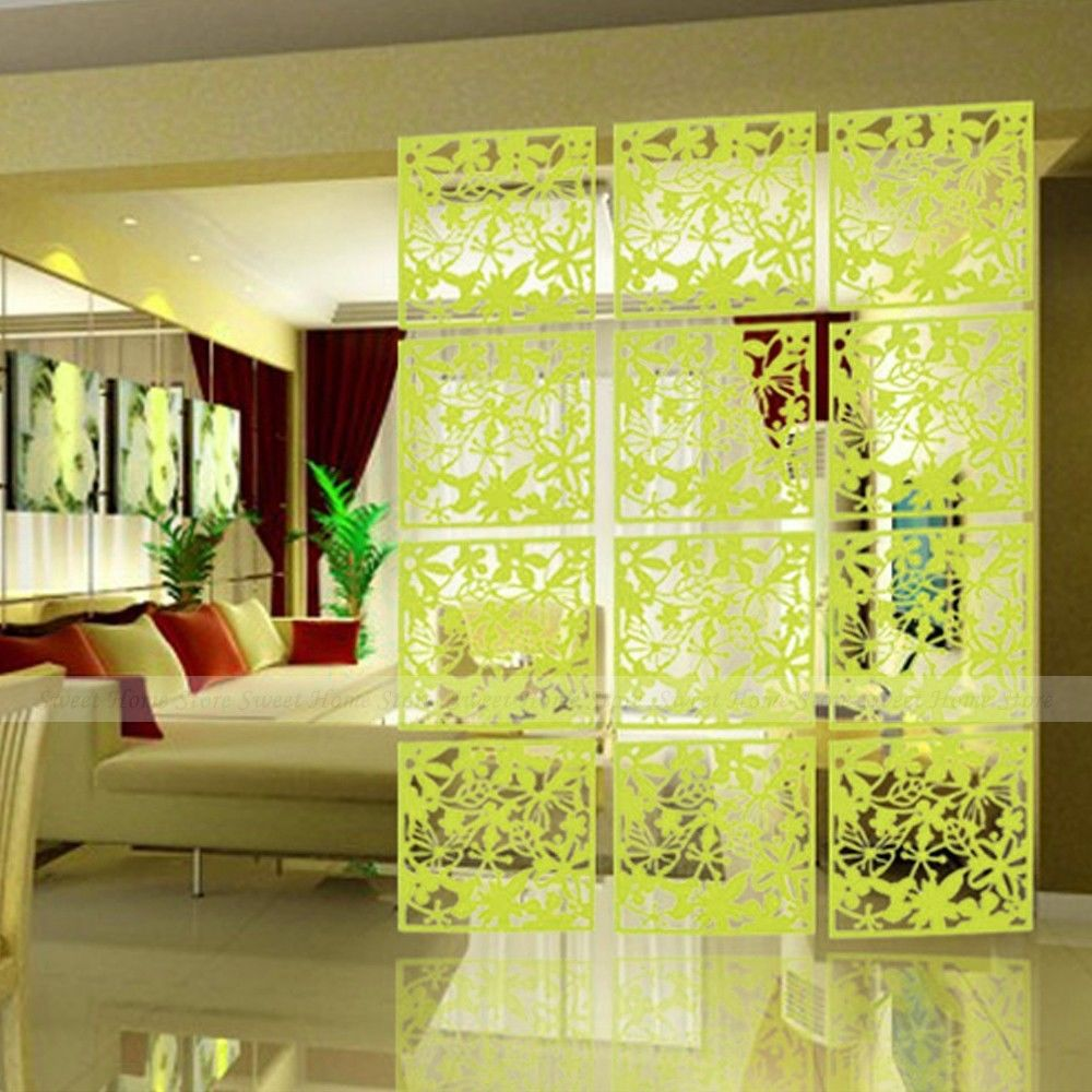Yazi 4pcs butterfly flower bird diy hanging screen panel room divider partition wall sticker - How to decorate my room divider ...