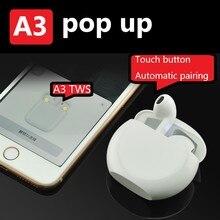A3 TWS POPUP 3D беспроводные наушники Bluetooth 5,0 беспроводные наушники стерео сенсорные наушники с зарядным чехлом спортивные басы гарнитура