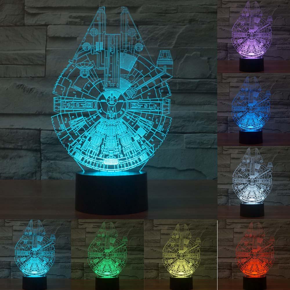 Millennium Falcon Light Star Wars 3D Star Trek Decor Bulbing Lamp Gadget LED Lighting Home Nightlight for Child Gift IY803312 ynynoo star wars bb8 droid 3d bulbing light toys 2016 new 7 color changing visual illusion led lamp yoda millennium falcon toy