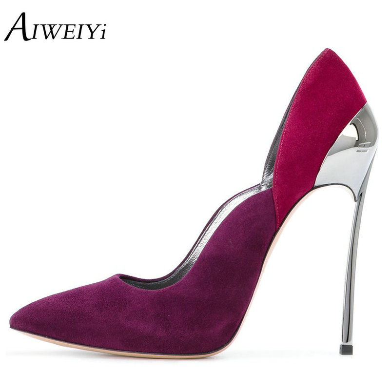 AIWEIYi Sexy Shoes Woman High Heels Pumps Shoes Stiletto Heels Women Pumps Party Wedding Shoes Slip On Ladies Wedding Shoes sexy suede transparent pvc patcchwork women pumps pointed toe slip on stiletto high heels plexi pumps party ladies shoes woman