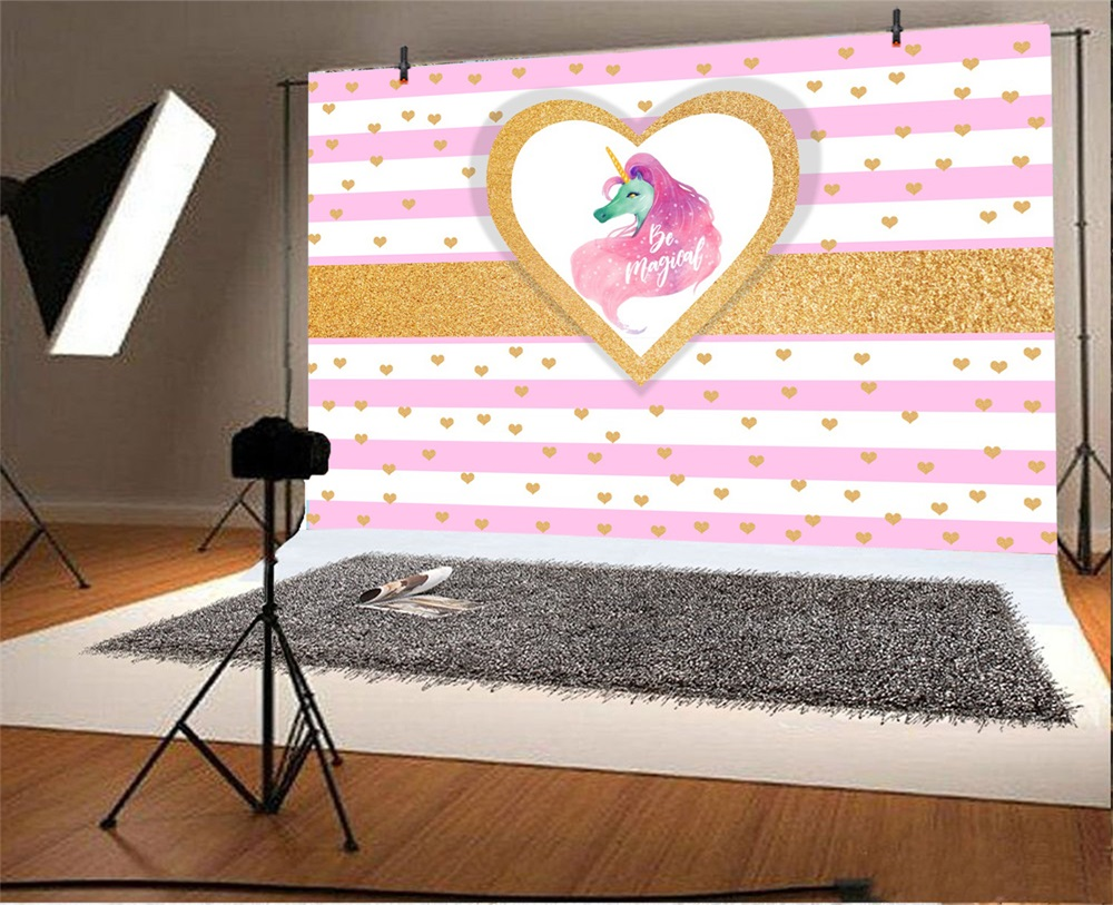 Laeacco Cartoon Unicorn Love Heart Wedding Party Photography Backgrounds Customized Photographic Backdrops For Photo Studio in Background from Consumer Electronics