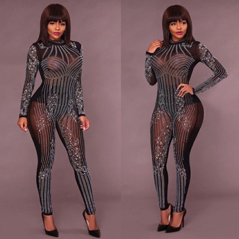 Party black Rhinestone Bodysuit Overalls Mesh Female Bodycon Women White Sparkly khaki Sexy Nightclub Neck 2019 Romper Jumpsuit Skinny Deep For U614n8