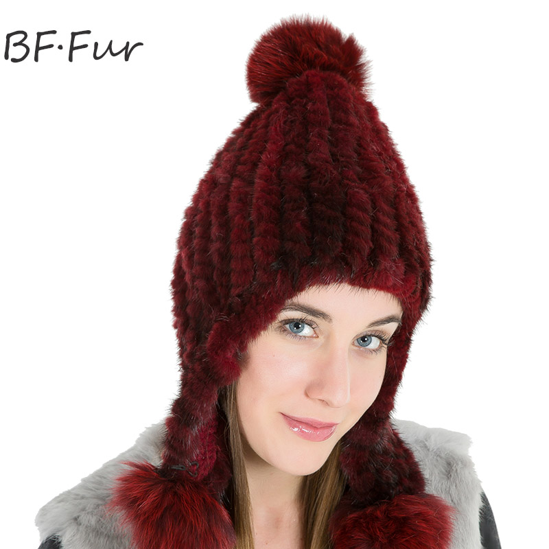 Women Winter Warm Real Mink Fur Hat For Female Knitted Cotton Bonnet Girls Natural Solid Color Animal Pompom Fashion Adult Cap russian real mink fur hat for female animal fur winter warm beanies fashion solid color cap natural color bonnet girls hats