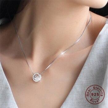 0343cf61fd4b 100% de Plata de Ley 925 collares para mujer cristal Cubic Zirconia  colgante círculo Collar