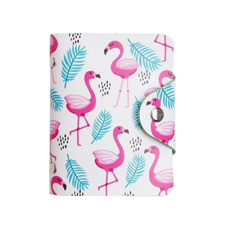 Cute Women Business Card Holder Case Book Cartoon Leather Bank Credit Card Clip Wallet Cardholder Flamingo ID Card Bag 20 Bits