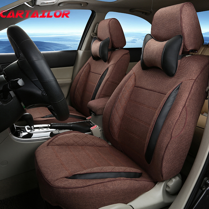 CARTAILOR Custom Cover Seat For Subaru Forester 2009 2011 2015 Car Covers Supports Black Linen Seats Cushion Protection