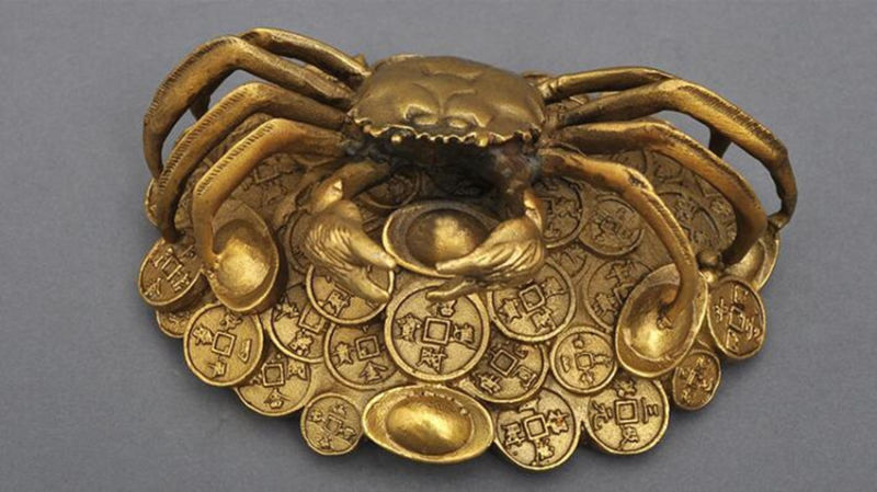 Chinese Brass Copper Handwork carve Yuanbao Money Crab Crabs StatueChinese Brass Copper Handwork carve Yuanbao Money Crab Crabs Statue