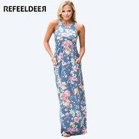 Refeeldeer Floral Long Maxi Dress Women 2017 Summer Sundress Sleeveless Floor Length Boho Beach Dress Shirt