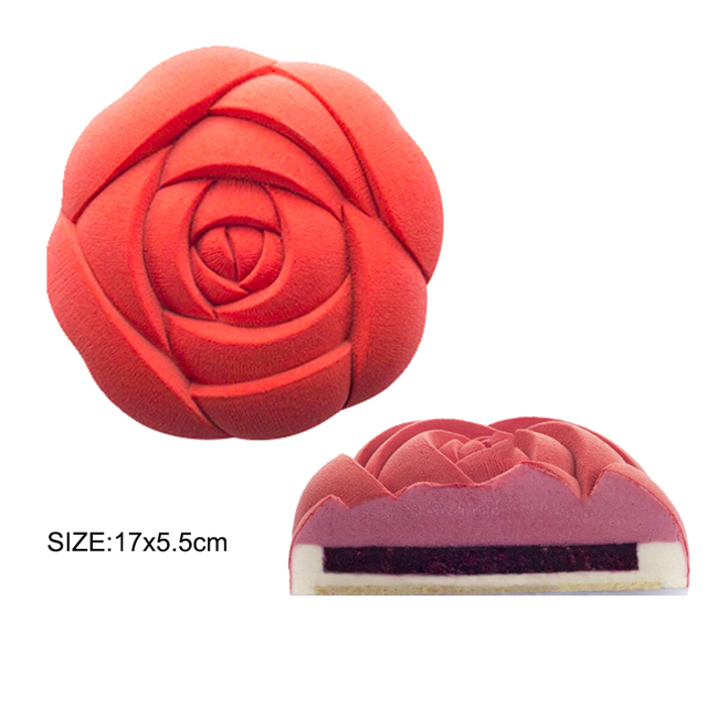 SILIKOLOVE Rose Heart Cake Mold 3D Silicone Molds for DIY Baking Dessert Mousse Kitchen Bakeware Tools Art Cake Form Tray Mould