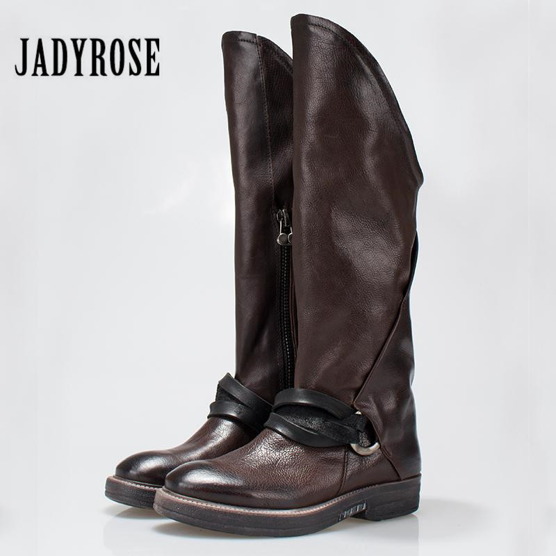 Jady Rose Sexy Women Martin Boots Flat Mid-calf High Boots Genuine Leather Side Zipper Female Platform Rubber Shoes Woman jady rose vintage brown women genuine leather mid calf boot chunky high heel platform boots straps buckle decor martin botas