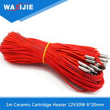 5PCS/Lot Ceramic Cartridge Heater For Extruder 3D Printers Accessories 6mm*20mm 12V30W Heated Tube Heating Rod 1 meter Length
