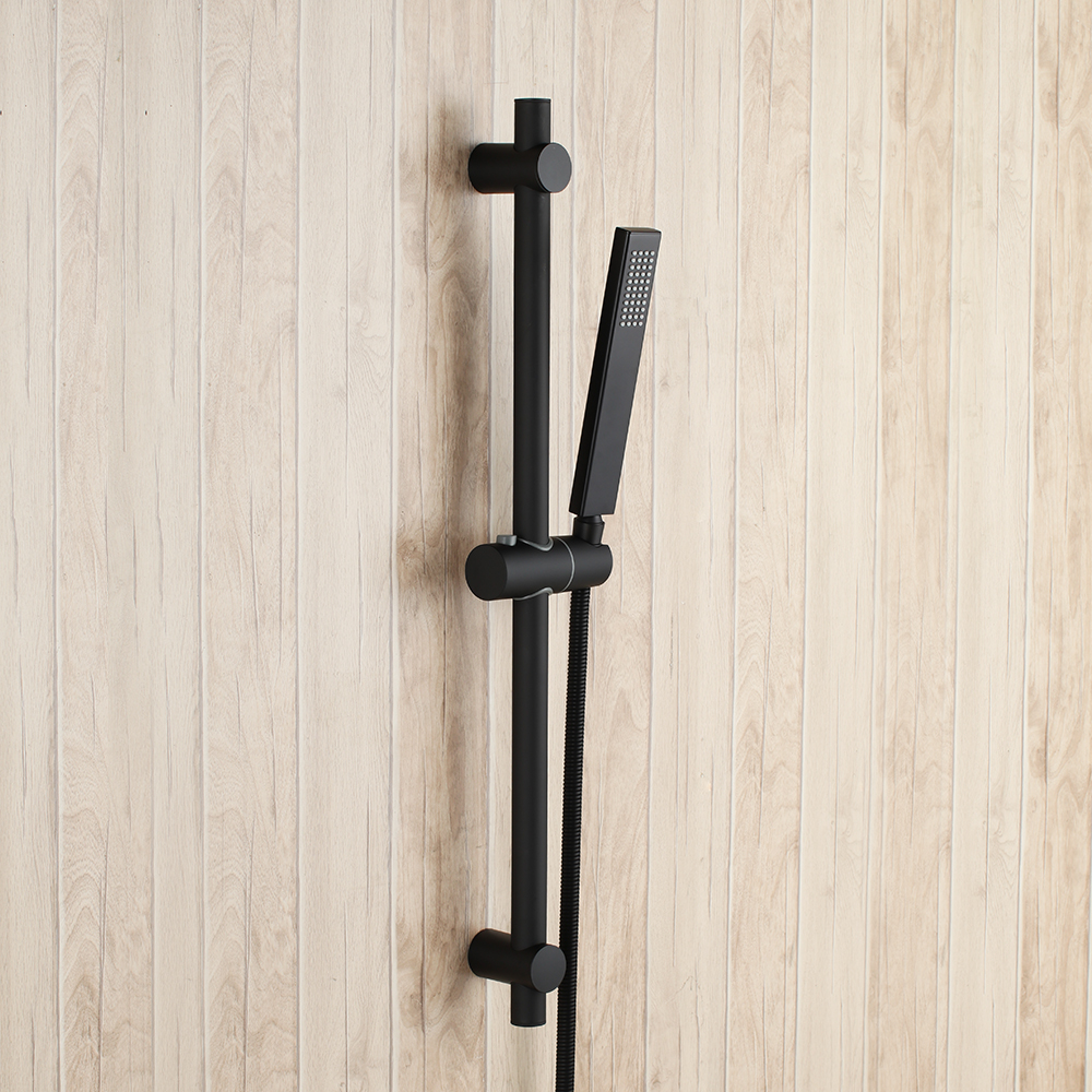 Cabezal de ducha de mano de baño de latón sólido negro mate con barra deslizante de acero inoxidable ajustable