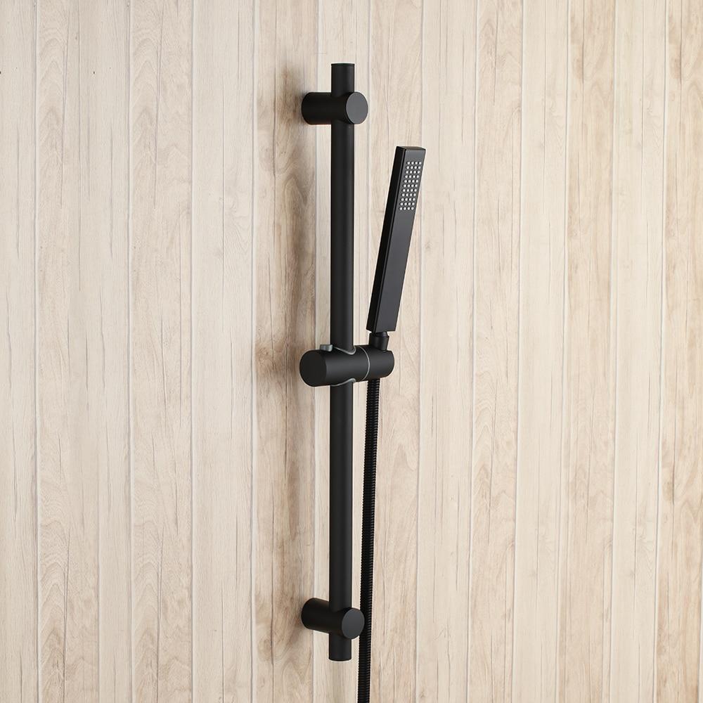 Matte Black Solid brass bathroom Handheld Shower Head with Adjustable stainless steel Slide Bar