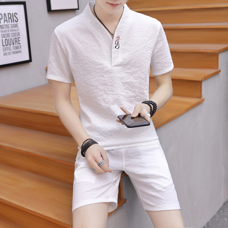 Summer Clothes Men's  2 Pieces Sets Casual Shorts And Short-sleeved T Shirt Men Breathable Slim Fit V Neck  Linen Suits 2019 New