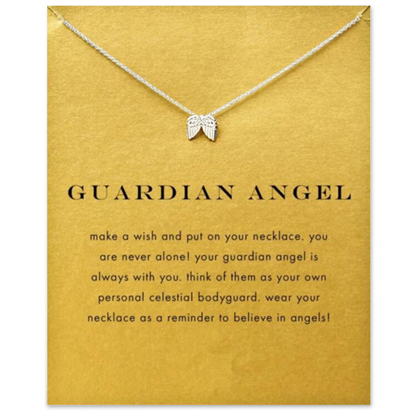 make wish New Fashion Gold silver color choker necklaces pendants angle wings necklace for girl womens