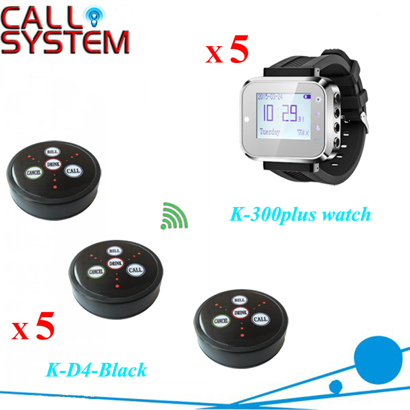Smart Service Call Button System 5 wrist pager 5 buzzer bell restaurant equipments wireless waiter call system top sales restaurant service 433 92mhz service bell for a restaurant ce 1 watch 10 call button