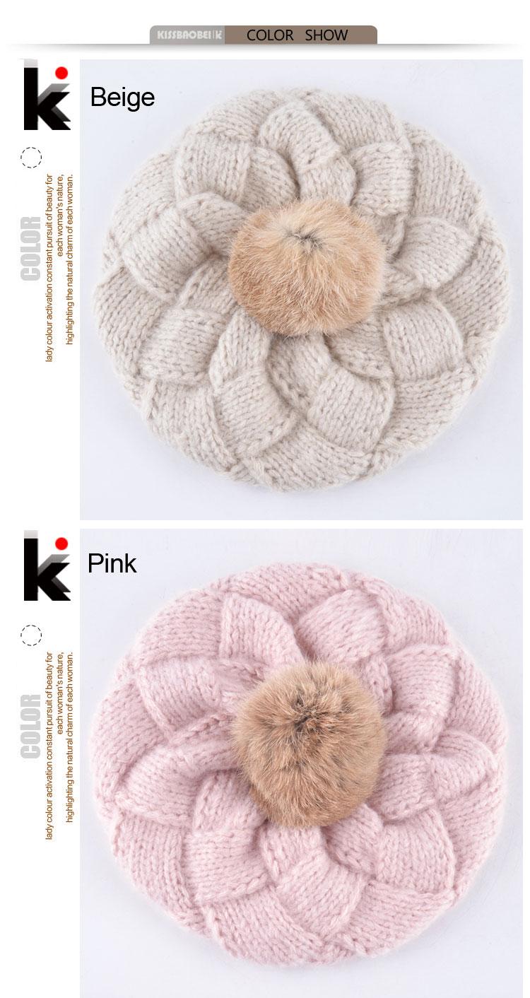 92522bdb09d Winter Women  s Berets Real Rabbit Fur PomPom Knitted Wool Hat Ladies  Autumn Flat Caps Female Beret Hats For Women Boina Feminina. K 01 K 02 K 04  ...