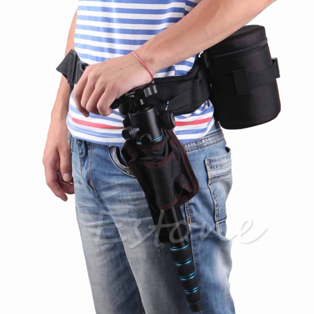 1 Pc Adjustable Camera Waist Padded Belt Lens Case Pouch Bag Holder Pack Strap Fine Quality