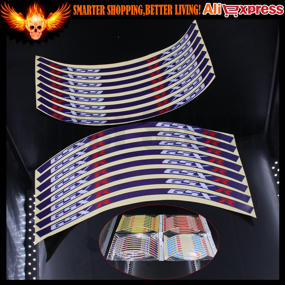 Blue/Red/Gold/White color Motorcycle Wheel Rim Stripe Stickers Tape Decals For SUZUKI GSXR GSXR600 GSXR750 GSXR1000