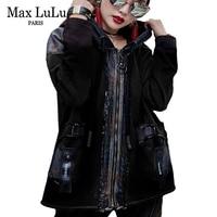 Max LuLu Fashion Korean Punk Girls Winter Streetwear Women Hooded Denim Jacket Chaqueta Mujer Vintage Woman Black Coat Plus Size