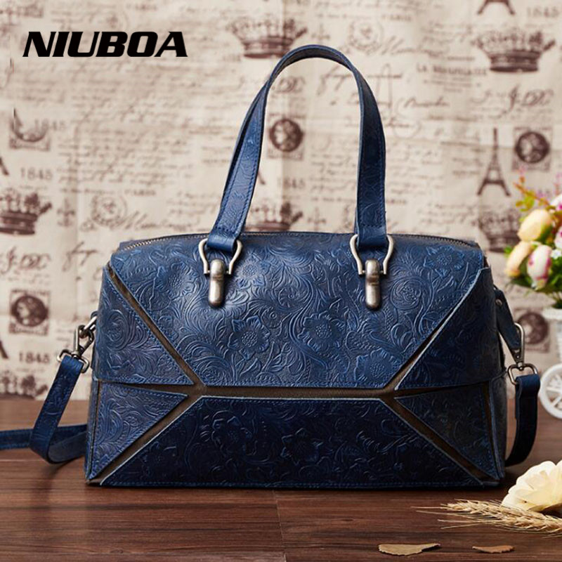 NIUBOA Genuine Leather Bag Women Vintage Natural Handbag Real Cowhide Crossbody Shoulder Bags Embossed Travel Laptop Bag Tote niuboa soft genuine leather women tote bag leather vintage brand work handbag new euro women bucket bag elegant shoulder bags