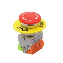 Interrupteur à bouton d'arrêt d'urgence, capuchon en forme de champignon, interrupteur d'ascenseur rouge, 1no 1nc, DPST, autoverrouillage, 660V, 10a