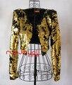 Женские сексуальные костюмы блестками золотой серебряный пиджак наряд этап шоу певица танцор производительность партия мода ночной клуб бар пром