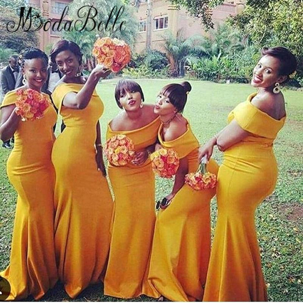 2018 Mermaid Long   Bridesmaid     Dresses   Bateau Neck Nigeria Yellow Sweep Train Plus Size Africa Long Gown Vestidos de festa