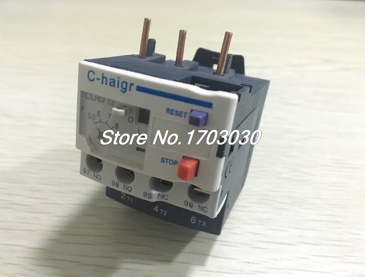3 Pole AC 5.5A - 8A Electric Thermal Overload Relay 1 NO 1 NC 2 pin thermal overload protection