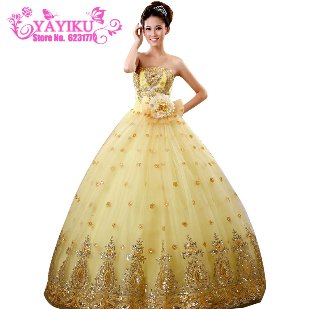 aliexpresscom buy new bluegold color quinceanera dress sweetheart beaded zipper princess dress for wedding party lace homecoming dresses l239 from - Gold Color Dress