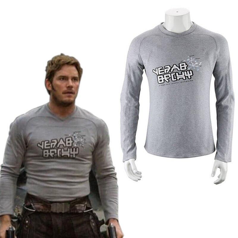 Men Clothing T-shirts Guardians Of The Galaxy 2 Starlord Shirt Peter Jason Quill Cosplay Costume T-Shirt Men Long Sleeve Tops