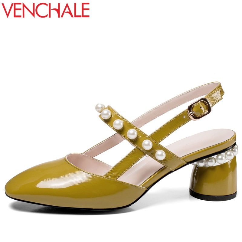 VENCHALE summer 2108 new high heel shoes string bead strange style wear-resistant non-slip rubber bottom round pearl buckle куплю ваз 2108 перший власник