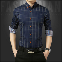 7สีคลาสสิกลายสก๊อตแขนยาวผู้ชายเสื้อธุรกิจหรือลำลองผ้าฝ้ายบางเสื้อชุดเสื้อขนาดใหญ่M-5XL