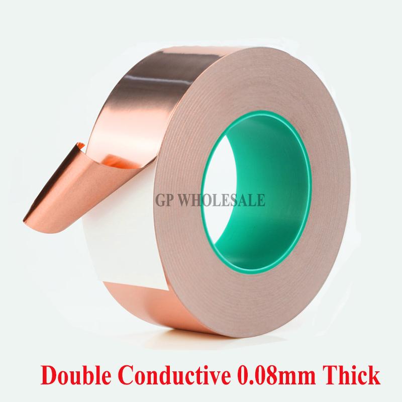 80mm*30M*0.08mm thick Single Sticky, Two Sides Electric Conduction Copper Electromagnetic wave shield Foil Tape 2 roll 6mm 30m 0 06mm adhesive single electric conduct copper foil tape for electromagnetic wave radiation emi shield mask