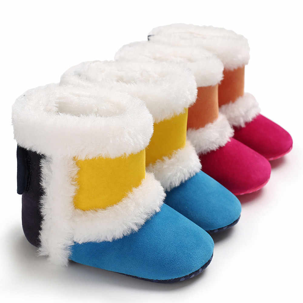 Pasgeboren Baby Meisjes Kasjmier Splicing Winter Laarzen Prewalker Warme Schoenen Warme Kinderen Snowboots Voor Kinderen Nieuwe Peuter Wint