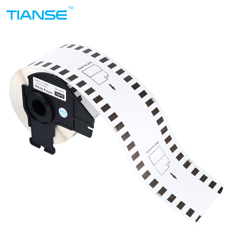TIANSE 5pcs Refill Rolls for Brother printer continuous labels barcode sticker DK22205 DK-22205 DK 22205 62mm*30.48M White paper 10rolls compatible dk 22205 label 62mm 30 48m continuous compatible for brother printer ql 570 700 all come with plastic holder