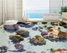 Coral Tropical Fish Ocean 3D Floor Sticker Bathroom Corridor Living Room 3D 3d Waterproof Self-adhesive Wallpaper Sticker Paper 3d floor sticker