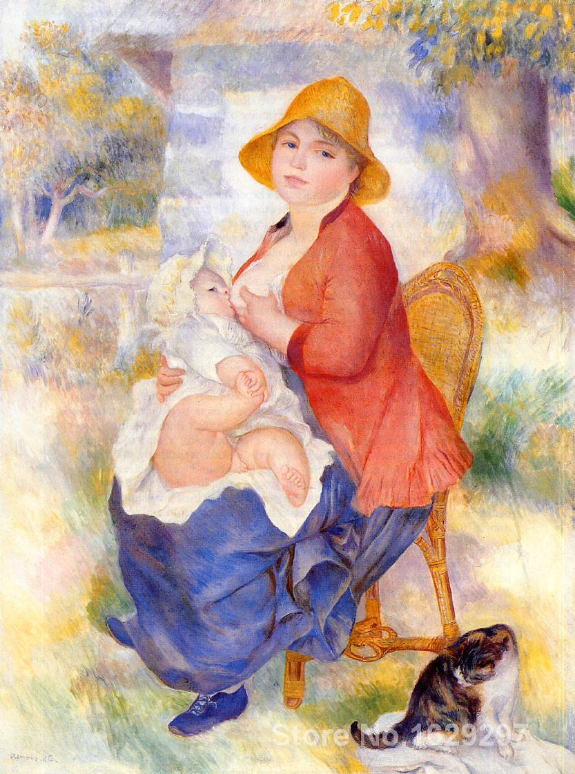 paintings on canvas Motherhood (Woman Breast Feeding Her Child) by Pierre Auguste Renoir Reproduction High Quality Hand painted